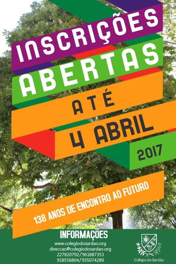 CARTAZ INSCRIÇÕES 2017